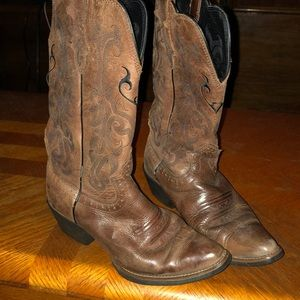 Womens Justin's 6 1/2 brown leather cowboy boots